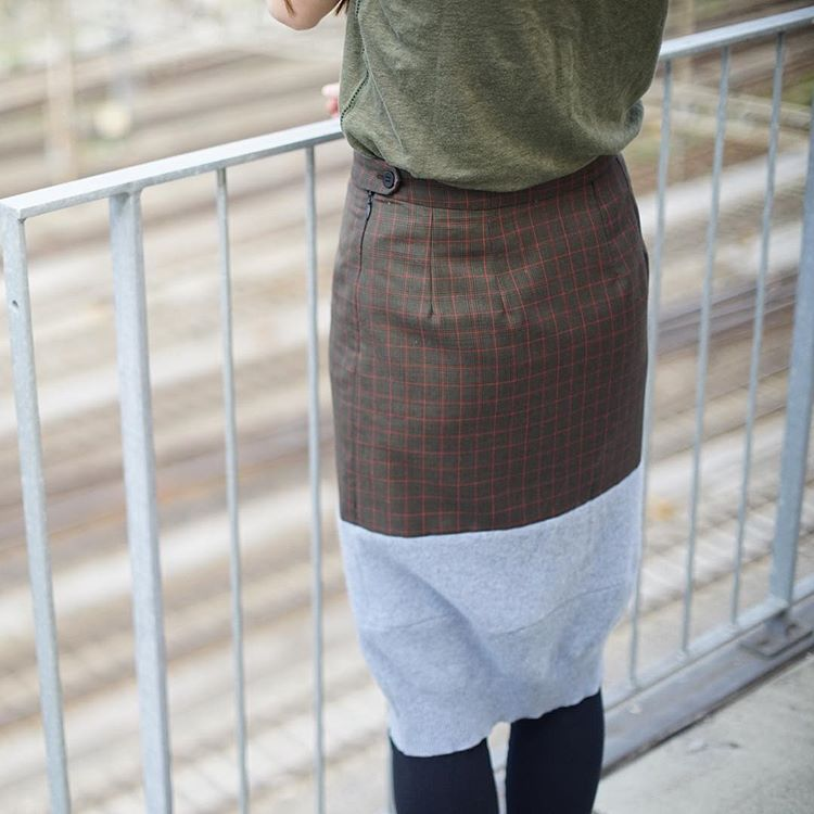 Skirt, wool from vintage pullover and wool from end of stock fabric, unique piece / 2017