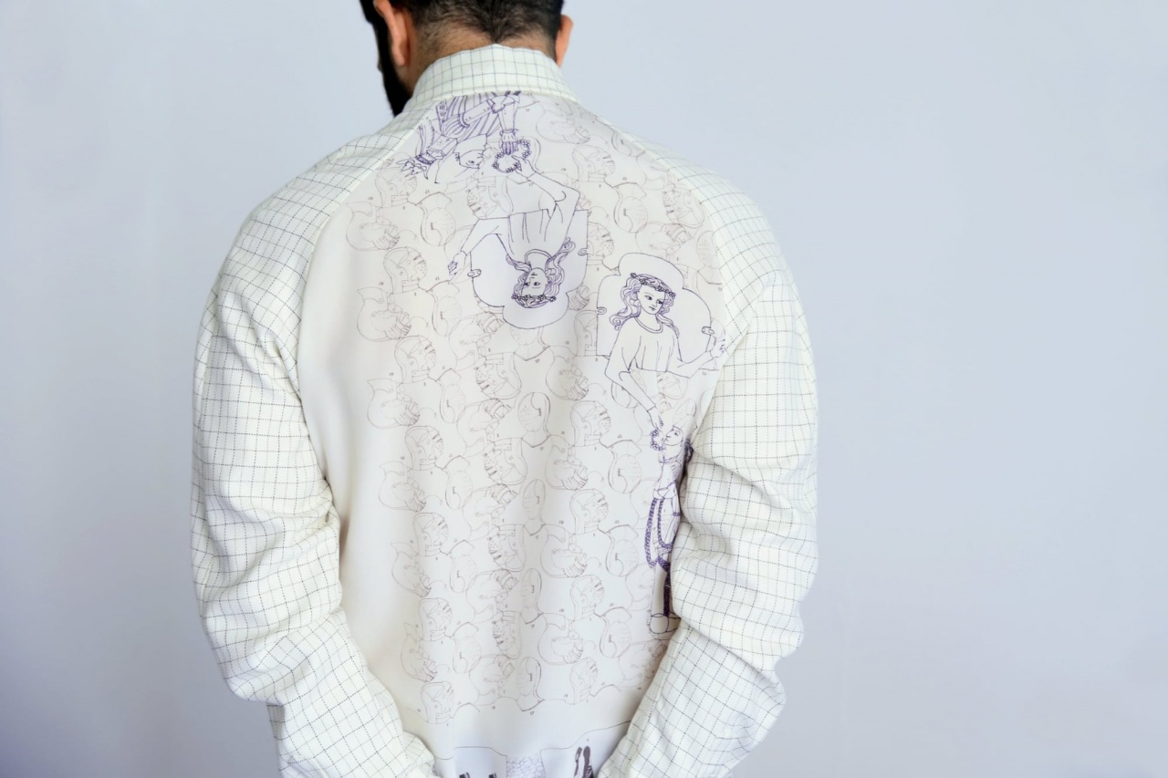 Shirt, silk print Knight, design Anne Touquet and cotton from end of stock fabric, limited series / 2014