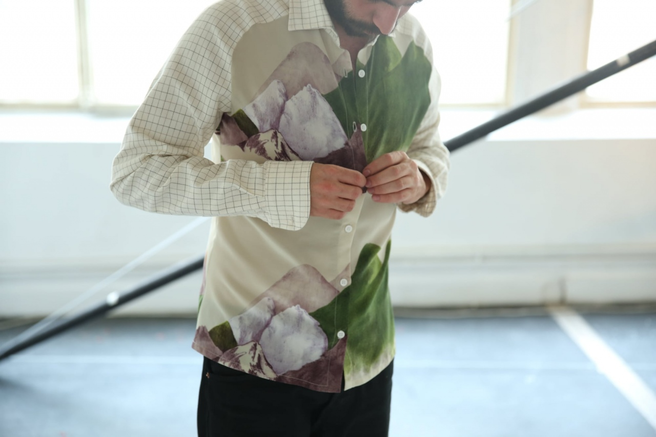 Shirt, silk print Mountain, design Anne Touquet and cotton from end of stock fabric, limited series / 2014
