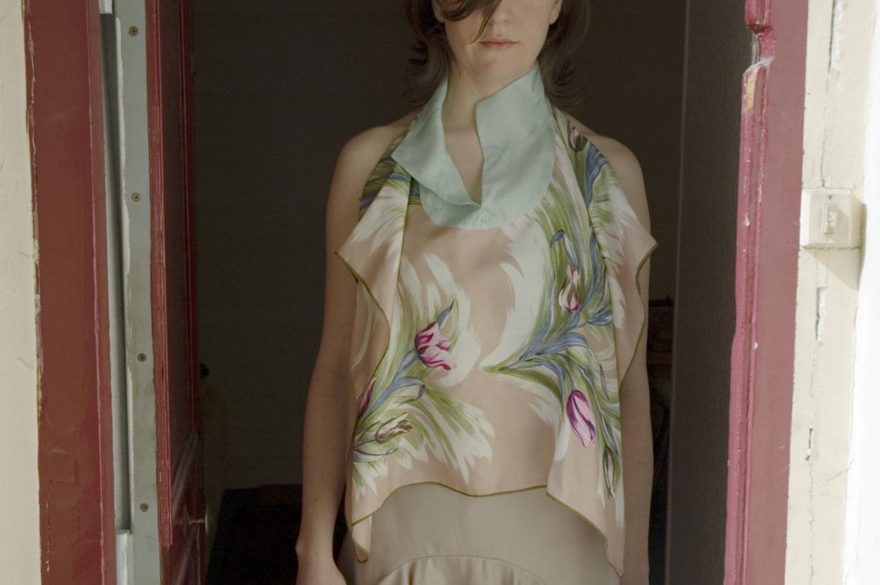 Top, silk from vintage scarf, unique piece / 2006