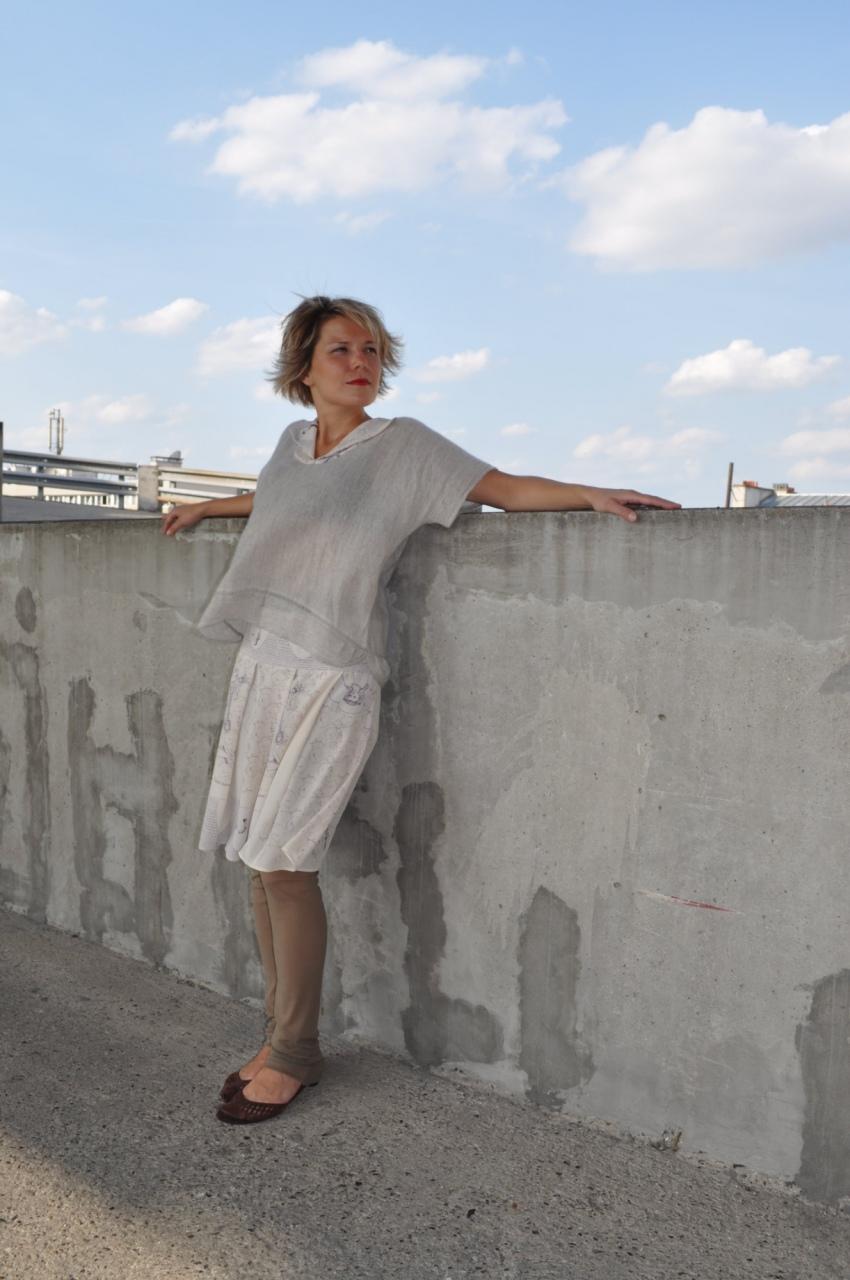 Haut en cachemire avec col en soie imprimé Armure, et jupe en soie imprimée Armure, dessin Anne Touquet, série limitée / 2011