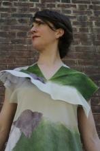 Robe en soie imprimée Montagne, dessin Anne Touquet, série limitée / 2014