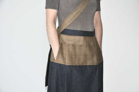 Skirt, wool form vintage man's jacket and end of stock woolfabric, unique piece / 2018. Photo : © Claudia Hägeli