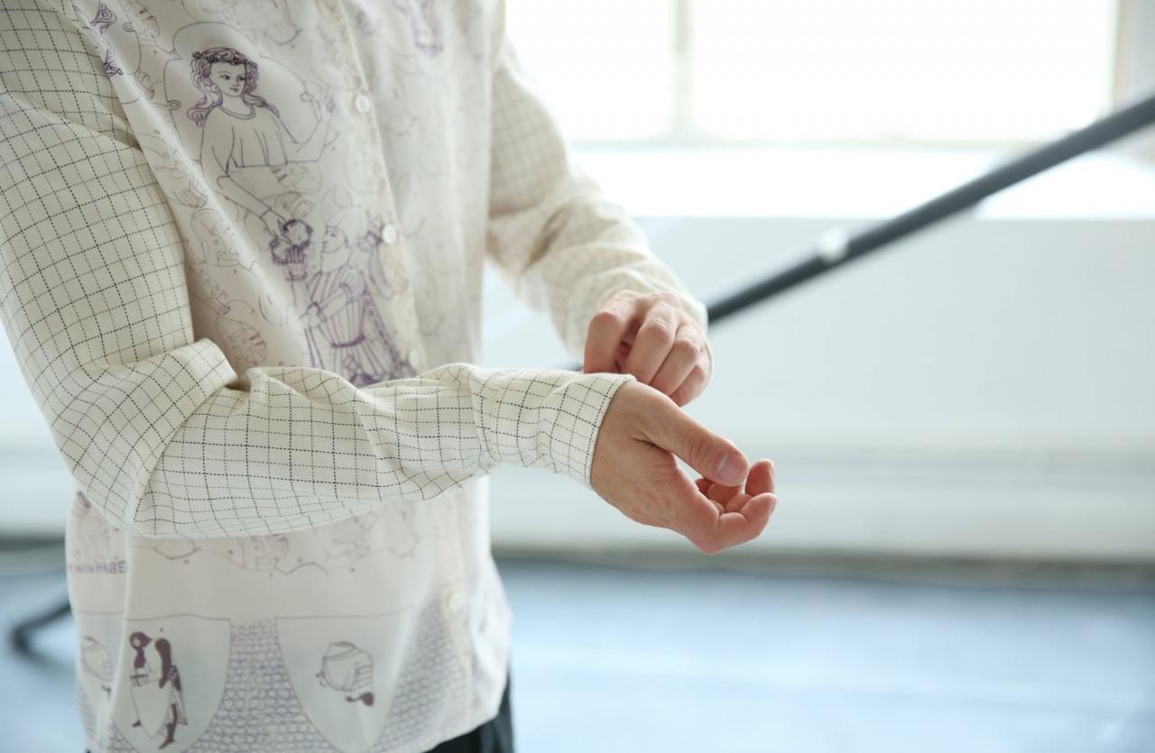 Chemise en soie imprimée Armure, dessin Anne Touquet et coton de fin de série, série limitée / 2014