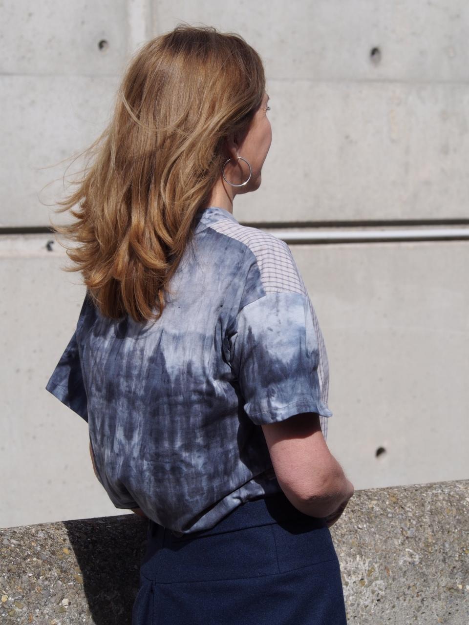 T-shirt en coton de chemise vintage et maille de fin de série, pièce unique / 2018