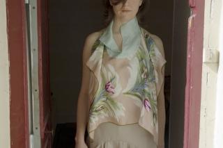 Haut en carré de soie vintage, pièce unique / 2006