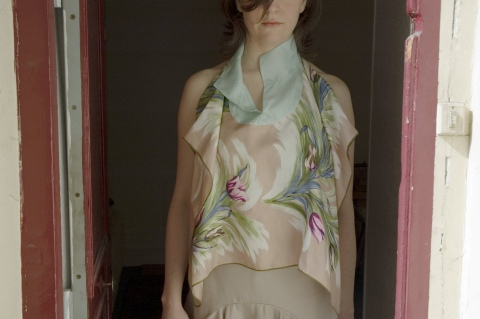 Top, silk from vintage scarf, unique piece / 2006