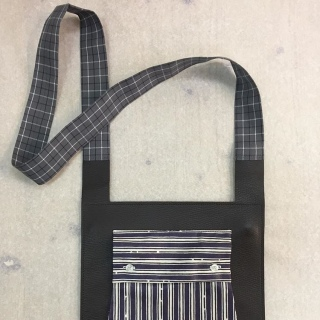 Bag, leather leftovers from fashion houses and cotton from sample of fabric producer, unique piece / 2018