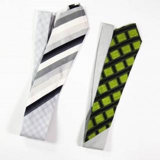 Cravate en soie de cravate vintage et coton de chemise vintage, pièce unique / 2013