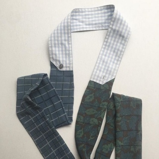 Scarf, silk from end of stock fabric and cotton from vintage shirt, unique piece / 2018