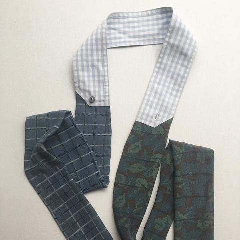 Echarpe en soie de fin de série et coton de chemise vintage, pièce unique / 2018