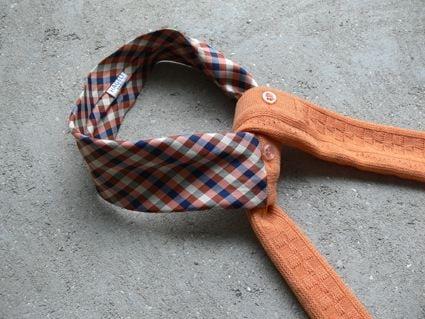 Echarpe en laine de pull vintage et soie de cravate vintage, pièce unique / 2017