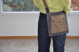 Sac en cuir surplus de maison de couture et laine de veste homme vintage, pièce unique / 2018